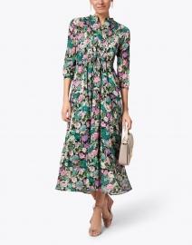 Banjanan - Bazaar Black and Pink Floral Cotton Crepe Maxi Dress
