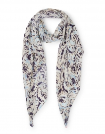 Blue Paisley Printed Modal Cashmere Scarf