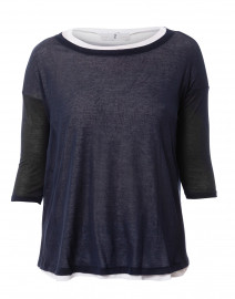 Navy and White Cotton Double Layer Top