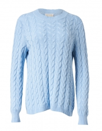 Blue Cotton Cable Knit Sweater