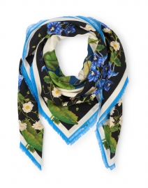 Oriah Blue Floral Wool and Cashmere Scarf