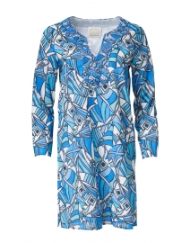 Blue Flag Print Cotton Voile Tunic Dress