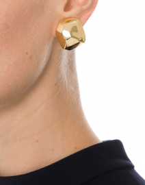 Kenneth Jay Lane - Polished Gold Sculpted Clip Earrings