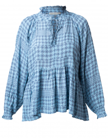 Madlen Jannella Blue and Grey Houndstooth Top