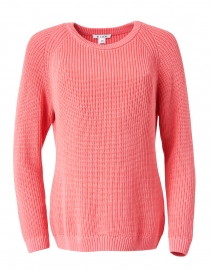 Blue - Strawberry Pink Ribbed Cotton Sweater