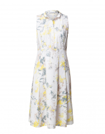 Yellow and Grey Floral Cotton Dress