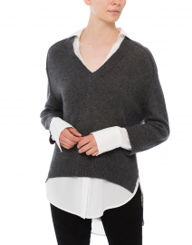 Brochu Walker - Dark Charcoal Sweater with White Underlayer