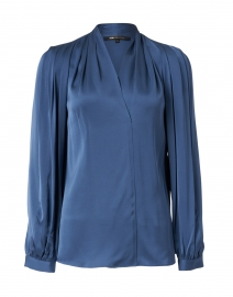 Taya Steel Blue Stretch Silk Blouse