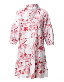 White and Red Floral Cotton Henley Dress