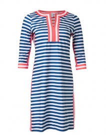 Navy, White and Red Striped Jersey Dress