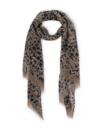 Beige Animal Print Wool and Silk Scarf