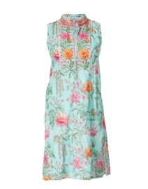 Bella Tu - Delphine Turquoise and Pink Floral Printed Dress