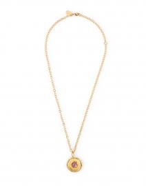 Amethyst Medallion Gold Pendant Necklace