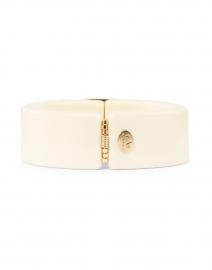 Gas Bijoux - White Enamel Blue Stoned Hinge Cuff Bracelet