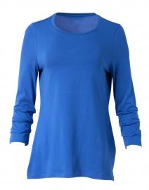 Lapis Blue Pima Cotton Ruched Sleeve Tee