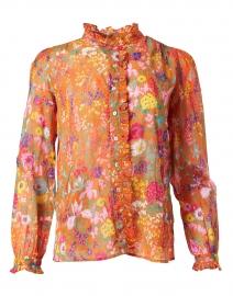 Chrissie Orange Floral Cotton Voile Shirt