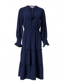 Navy Tiered Crepe Dress