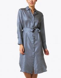 Seventy - Navy and Ivory Print Silk Dress