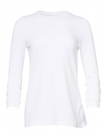 White Pima Cotton Ruched Sleeve Tee