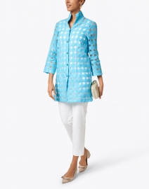 Connie Roberson - Rita Aqua Sheer Plaid Linen Shirt