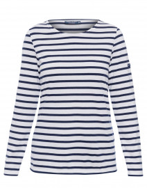 Minquidame White and Navy Striped Cotton Top
