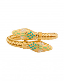 Aqua and Light Green Cobra Gold Bracelet