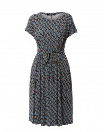 Argo Blue and Camel Printed Jersey Dress