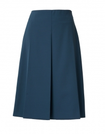 Skyl Petrol Green Wool Pleated Skirt