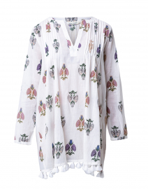 Ziva White Floral Printed Cotton Tunic