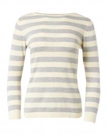 Blue - Silver and Ecru Stripe Pima Cotton Boatneck Sweater