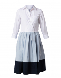 White Poplin Stretch and Light Blue Dress