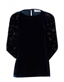 Willa Navy Velvet Top