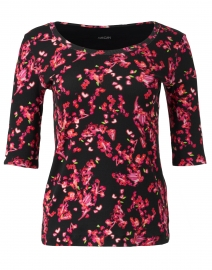 Pink and Black Floral Print Cotton Top