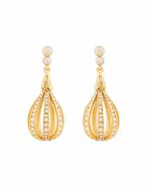 Gold Pale Encrusted Open Circle Drop Earrings