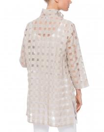 Connie Roberson - Rita Beige Sheer Plaid Shirt