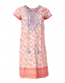 Erin Poppy Orange Floral Printed Cotton Dress