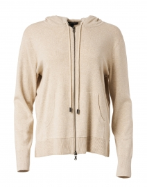 Beige Cotton Zip Up Cardigan