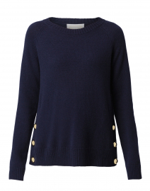 Navy Wool Sweater with Gold Buttons