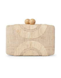 Ottis Geometric Embroidered Natural Raffia Clutch