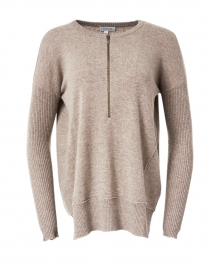 Hazelnut Cashmere Zip Up Henley Sweater