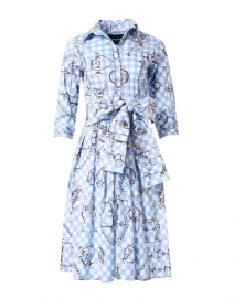 Audrey Sky Blue Saddle Print Stretch Cotton Dress