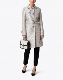 Cinzia Rocca Icons - Silver Animal Printed Belted Trench Coat