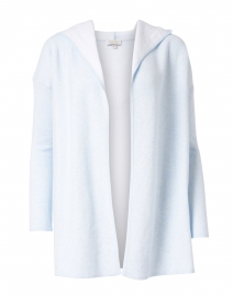 Light Blue and White Reversible Cotton Cashmere Cardigan