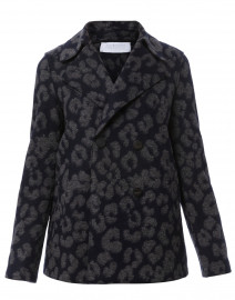 Navy and Grey Leopard Jacquard Wool Peacoat