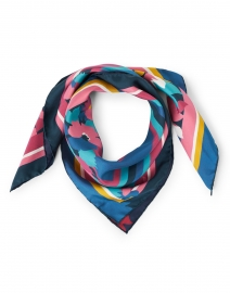 Pink and Blue Floral and Stripe Silk Scarf