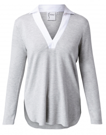 Portia Grey and White Knit Top