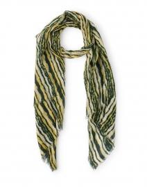 Green and Yellow Striped Wool Silk Scarf