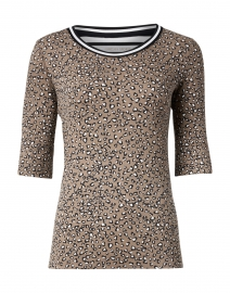 Beige Animal Print Stretch Cotton Top