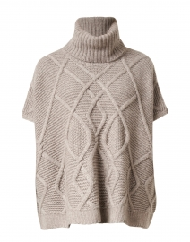 Sandstone Melange Cable Stitch Poncho Sweater