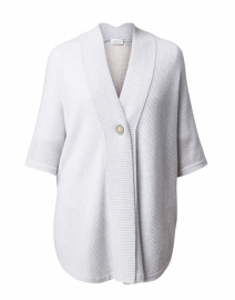 Pale Grey Cashmere Ribbed Button Ruana